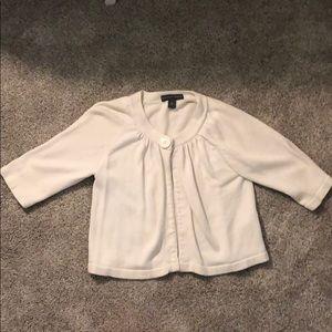 White 3/4 sleeve shawl/sweater